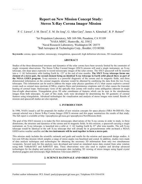 Stereo X-Ray Corona Imager Mission - NASA/Marshall Solar Physics