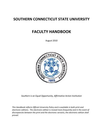 SCSU's Faculty Handbook - Southern Connecticut State University