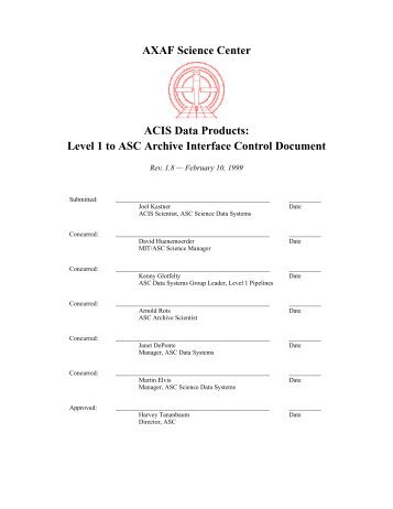 Level 1 to ASC Archive Interface Control Document - MIT