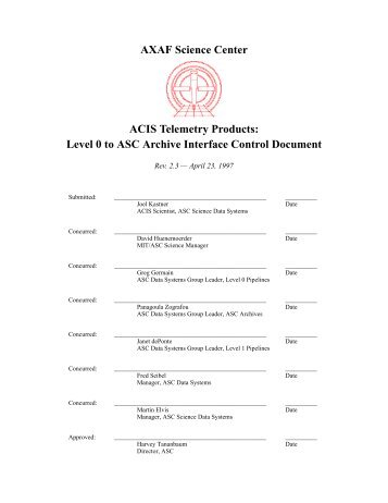 Level 0 to ASC Archive Interface Control Document
