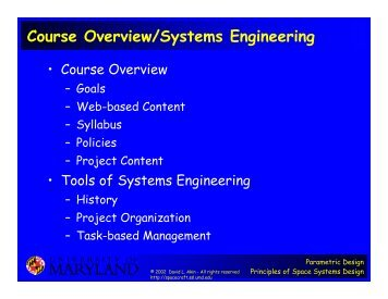 Course Overview/Systems Engineering - Dave Akin's Web Site ...