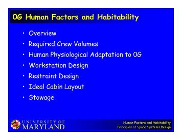 MARYLAND 0G Human Factors and Habitability