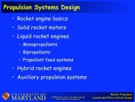MARYLAND Propulsion Systems Design