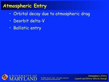 MARYLAND Atmospheric Entry