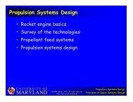 MARYLAND Propulsion Systems Design - University of Maryland