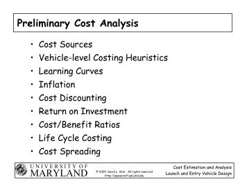 MARYLAND Preliminary Cost Analysis - Dave Akin's Web Site