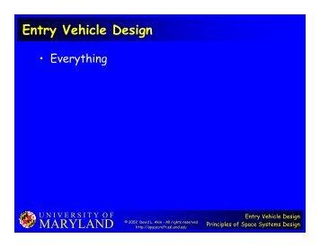 MARYLAND Entry Vehicle Design