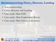 Entry, Descent, and Landing ENAE 483/788D - Principles of Space ...