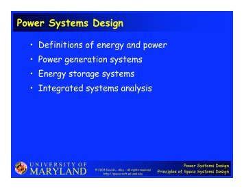 MARYLAND Power Systems Design - University of Maryland