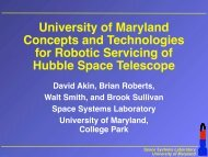University of Maryland Concepts and Technologies for Robotic ...