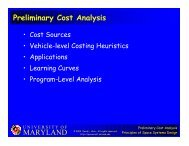 MARYLAND Preliminary Cost Analysis - Dave Akin's Web Site ...