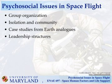 Psychosocial Issues in Space Flight