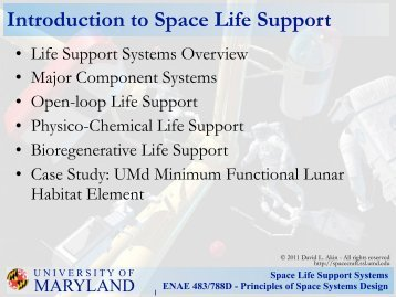 Space Life Support Systems ENAE 483/788D - Principles of Space ...