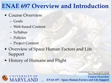 Course Overview ENAE 697 - Space Human Factors and Life Support