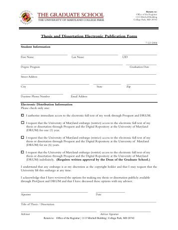 Thesis and Dissertation Electronic Publication Form - School of ...