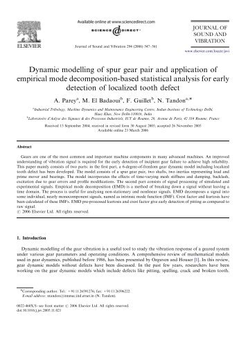 Dynamic modelling of spur gear pair and application of empirical ...
