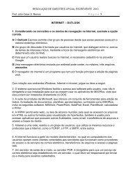 INTERNET – OUTLOOK 1. Considerando os conceitos e os modos ...