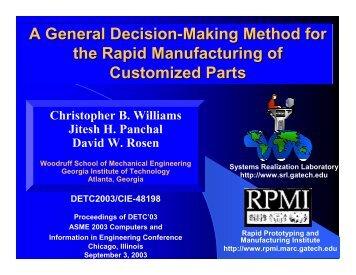 Presentations - the Systems Realization Laboratory - Georgia ...