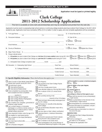 Clark College 2011-2012 Scholarship Application - Staff Portal ...