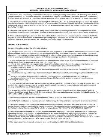 DD Form 2807-2, Medical Prescreen of Medical History Report ...