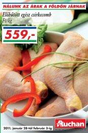 Elôhûtött egész csirkecomb Ft/kg - Auchan