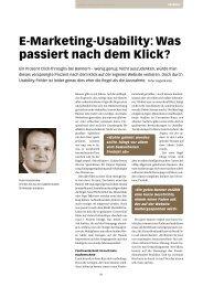 E - M arketing - U sability : Wa s passiert nach dem Klick? - Zeix AG