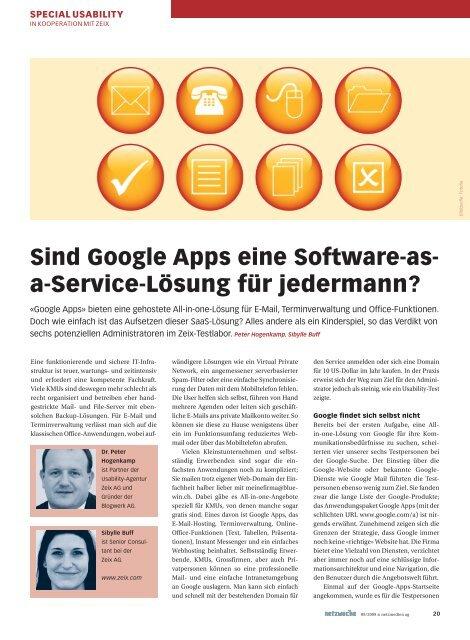 Sind Google Apps eine Software-as- a-Service-Lösung für ... - Zeix AG
