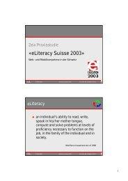 «eLiteracy Suisse 2003» - Zeix AG