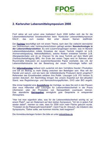 2. Karlsruher Lebensmittelsymposium 2008 - Aquanova