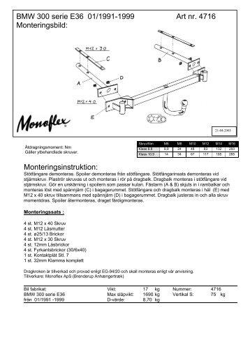Monteringsinstruktion: BMW 300 serie E36 01/1991 ... - Schmiedmann
