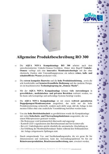 Technische Daten Kompaktanlage RO 300 - Aqua Nova GmbH