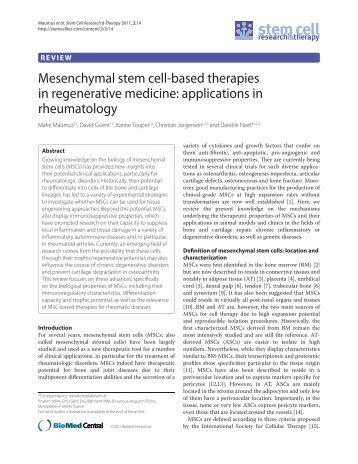 Mesenchymal stem cell-based therapies in regenerative medicine ...