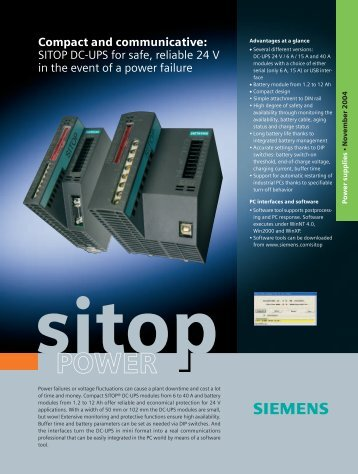 Compact and communicative: SITOP DC-UPS for safe, reliable 24 V ...