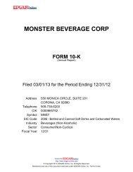 monster beverage corp form 10-k - Edgar Online