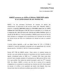 KIMOCE annonce un chiffre d'affaires 2008/2009 stable et un ...