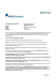 CORPORATE EVENT NOTICE: Offre publique alternative ...