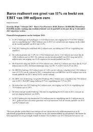 Barco realiseert een groei van 11% en boekt een EBIT van 100 ...
