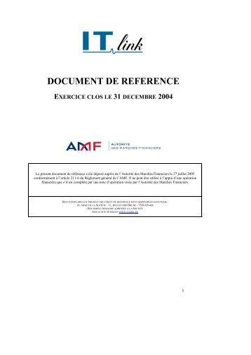 document de reference exercice clos le 31 decembre 2004