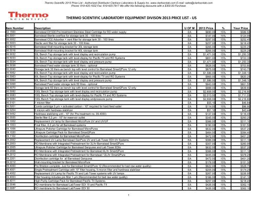 Thermo Scientific 2013 Price List - Clarkson Laboratory and Supply