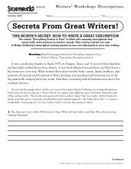 Writers' Workshop: Descriptions - Storyworks - Scholastic