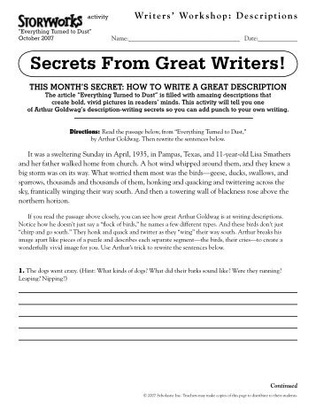 description essay longman writer writers workshop descriptions storyworks scholastic