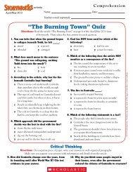 ?The Burning Town? Quiz - Scholastic