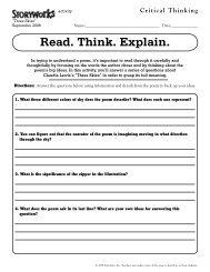 Read. Think. Explain. - Storyworks Magazine - Scholastic