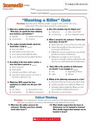 ?Hunting a Killer? Quiz - Storyworks Magazine - Scholastic
