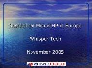 Residential MicroCHP in Europe Whisper Tech November 2005