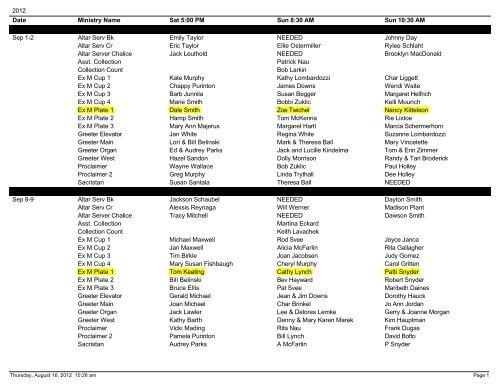 Schedule Mass Across Custom Listing - St  Thomas The Apostle