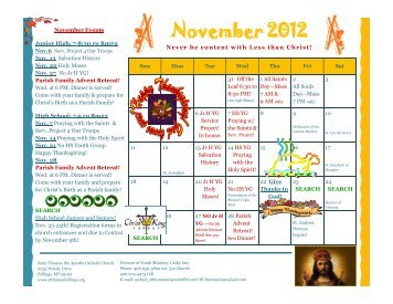 November 2012 - St. Thomas The Apostle