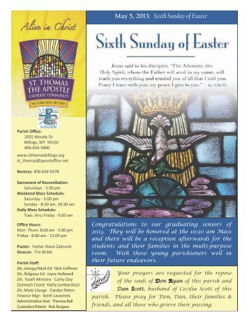 May 5, 2013: Sixth Sunday of Easter - St. Thomas The Apostle