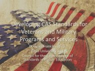 CAS Standards for Military and Veterans Programs and Services