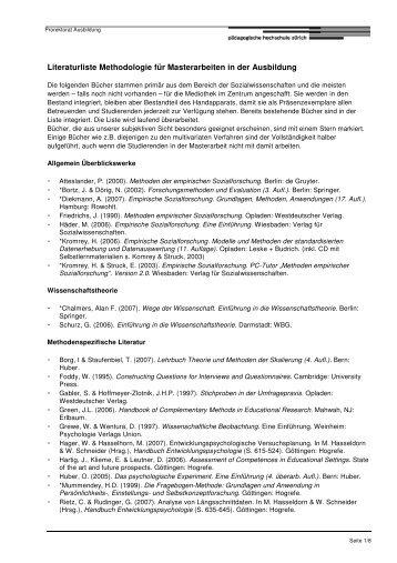 Literaturliste Methodologie
